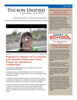 Noticias para Padres/Tutores - Tucson Unified School District