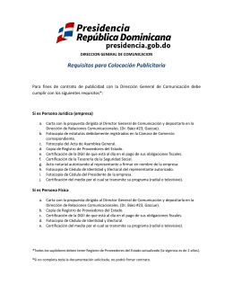 Requisitos para Colocación Publicitaria