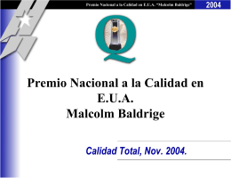 Malcolm Baldrige - Total Quality Management