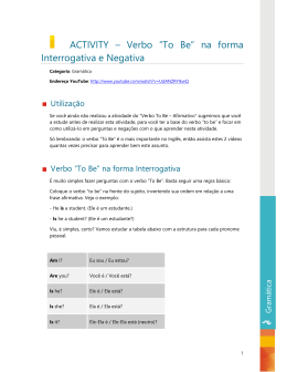 "ACTIVITY – Verbo ""To Be"" na forma Interrogativa e Negativa"