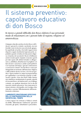 Il sistema preventivo: capolavoro educativo di don bosco