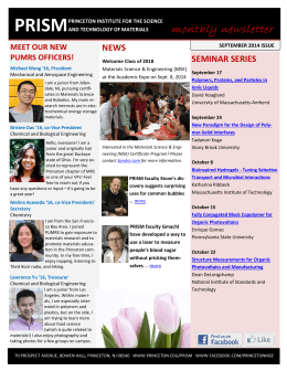 PRISM Newsletter, September 2014 issue available now!