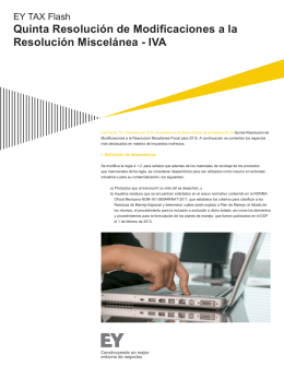 Quinta Resolución de Modificaciones a la Resolución Miscelánea
