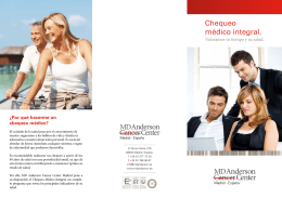 Chequeo médico integral. - MD Anderson Cancer Center Madrid
