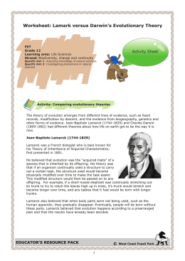 Worksheet: Lamark versus Darwin`s Evolutionary Theory
