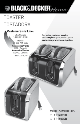 toaster tostadora - Applica Use and Care Manuals