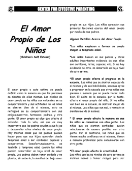 El Amor Propio de Los Ninos - Center for Effective Parenting