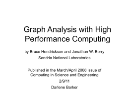 Graph Analysis with High Performance Computing