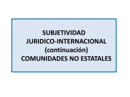 SUJETO DIP no estatales - Derecho Internacional Público