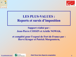 SUPPORT Plus-values report et sursis d