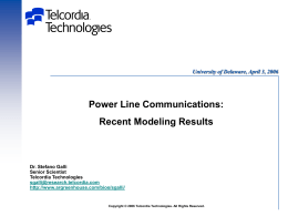 Power Line Communications: Recent Modeling Results