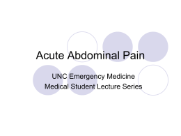 Acute Abdominal Pain - UNC School of Medicine