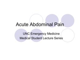 Acute Abdominal Pain - UNC School of Medicine