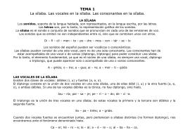 TEMA 1 La sílaba. Las vocales en la sílaba. Las consonantes en la