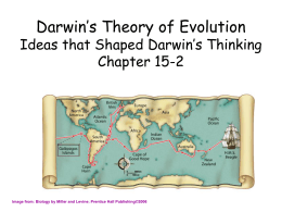 Darwin`s Theory of Evolution The Puzzle of Life`s Diversity Chapter