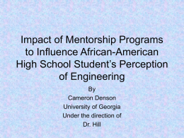Effects of Mentorship Programs - NCETE: The National Center for