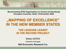 Mapping of Excellence in the New Member States of the