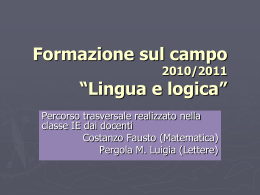 "Lingua e logica - Liceo Scientifico ""G. Galilei"""
