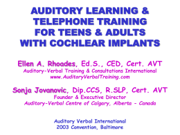 No Slide Title - Auditory Verbal Training