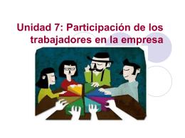 Unidad 7: Participación de los trabajadores en la empresa