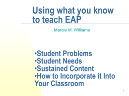 Using What You Know to Teach EAP