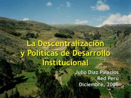 La descentralización y políticas de desarrollo institucional