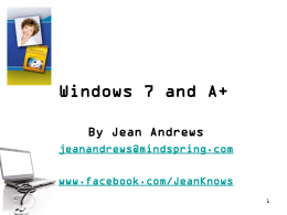 Windows 7 and A+