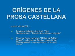ORÍGENES DE LA PROSA CASTELLANA