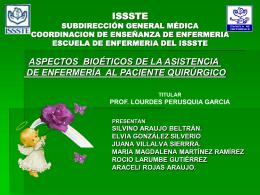 CUIDADOS PREOPERATORIOS Y ASPECTOS BIOÉTICOS DE LA