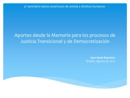 Aportes desde la Memoria para los procesos de Justicia