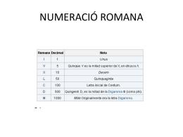 NUMERACIÓ ROMANA