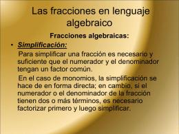 Las fracciones en lenguaje algebraico