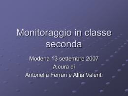 Monitoraggio in classe seconda