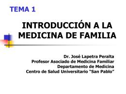 INTRODUCCIÓN A LA MEDICINA DE FAMILIA