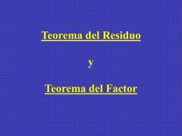 TEORIA DEL RESIDUO Y DEL FACTOR