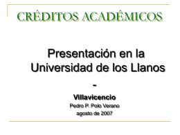 Créditos Académicos - Universidad de los Llanos