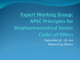 APEC Expert Working Group: Principles for Medical Device Sector