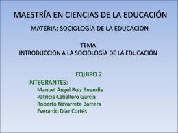 INTRODUCCIÓN A LA SOCIOLOGÍA DE LA EDUCACIÓN