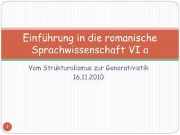 Einführung in die romanische Sprachwissenschaft VIa - UK