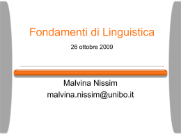 Fondamenti di Linguistica Livelli di analisi linguistica data