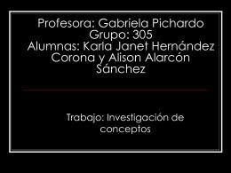 Profesora: Gabriela Pichardo Grupo: 305 Alumnas: Karla Janet