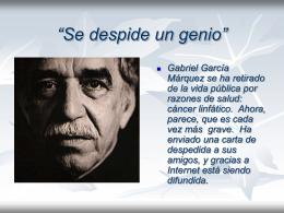 Adios de Gabriel Marquez - Reportajes Metropolitanos