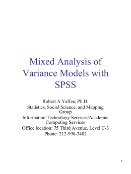 Anovas and Mixed Models with SPSS