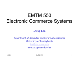 E-commerce systems - the Department of Computer and Information
