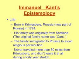 Kant`s Epistemology