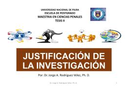 justificación de la investigación - Dr. Jorge Armando Rodríguez Vélez