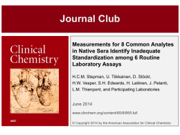 Journal Club - Clinical Chemistry