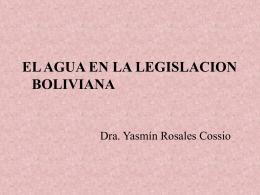"""""""El agua en la legislación Boliviana""""."""