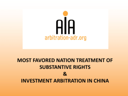 Investment Arbitration: a perspective of China
