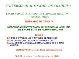 TABLAS DE CONTINGENCIA Y EL ANÁLISIS DE VARIANZA PARA